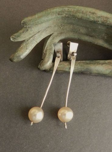 Vintage Sterling Pearl Dangle Hand Made Modernist Earrings Screw Back