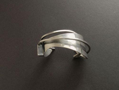 Ed Wiener Modernist Cuff Bracelet Sterling Mid Century Signed