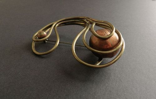 Rare Art Smith Large MCM Brooch Kinetic Brass Copper Ball Moves Signed