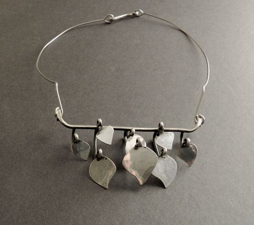 Ruth Berridge Modernist Necklace Sterling Mobile Dangles Hand Wrought