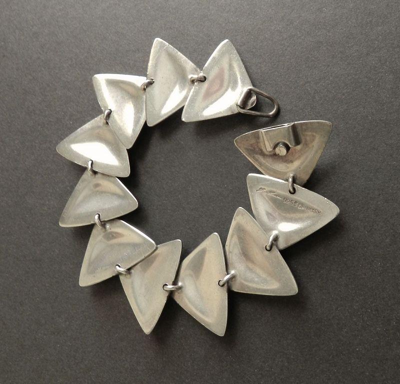 Hans Hansen Modernist Sterling Triangles Bracelet Bent Gabrielsen