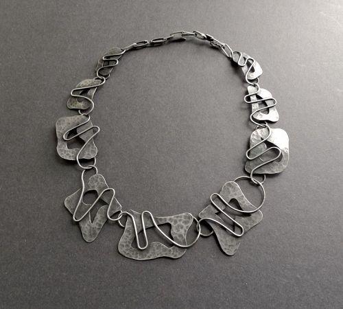 Vintage Peter Ein-Hod Sterling Layered Modernist Signed Necklace