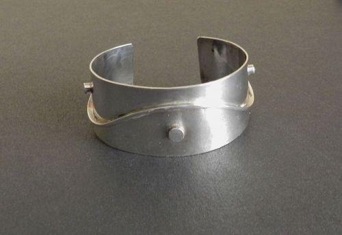 Vintage Nita Lustig Modernist Sterling Hand Wrought Cuff Bracelet MCM
