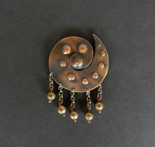 Rare Early Modernist Winifred Mason Copper Brooch with Dangles