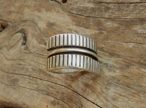 Tone Vigeland Norway Plus Modernist Ribbed Ring Sterling SZ 8 Adjustab