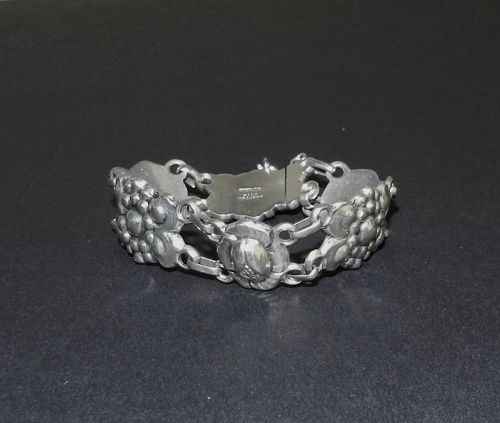 Vintage Sterling Floral Hand Wrought Bracelet Arts & Crafts Kalo Style