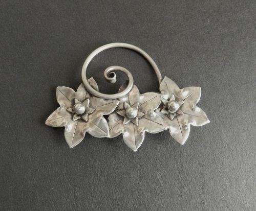Albino Manca Sterling Brooch Hand Wrought Arts Crafts Design