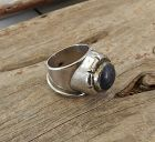 Hand Wrought Vintage Sterling and Blue Stone Modernist Ring Size 8