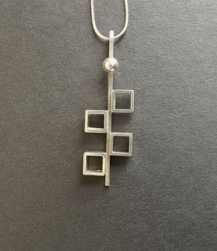 N E From Sterling Modernist Cubes Pendant on Chain Niels Erik Denmark