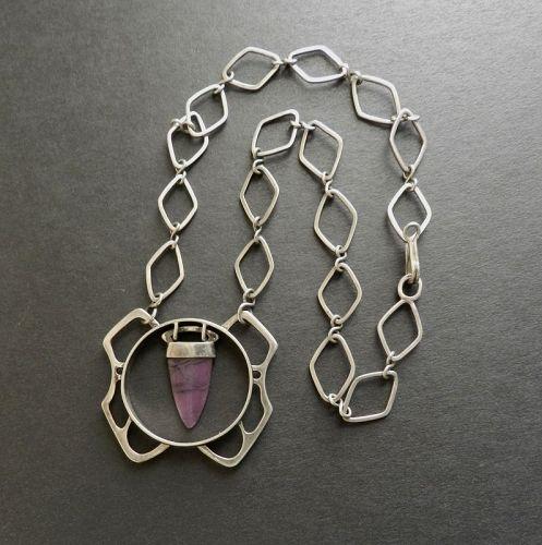 Vintage Modernist Sterling Amethyst Pendant Necklace Hand Made Signed
