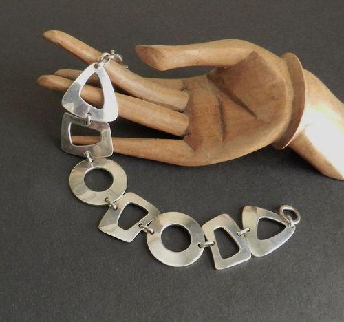 """Vintage Modernist Ed LEVIN Sterling Silver Geometric Bracelet 7.5"""""""