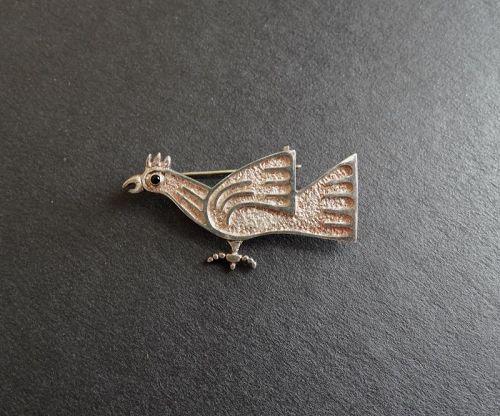 Vintage Joaquin Tinta Ecuador Sterling Gem Stone Bird Brooch Modernist