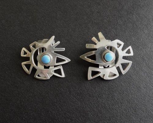 Vintage Graziella Laffi Sterling Bird Earrings Enamel Eyes Clips Peru