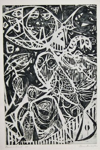 """WENDELL H. BLACK """"DESCENT INTO HELL I"""" ETCHING 1970"""