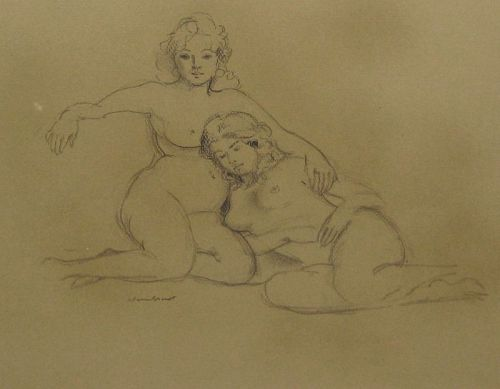 "WARREN BRANDT ""SISTERS"" ORIGINAL CHARCOAL DRAWING"