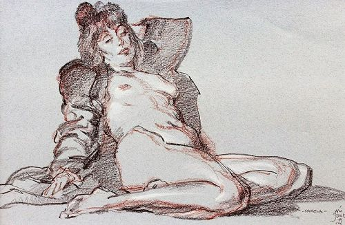"WILLIAM STOUT ORIGINAL CHALK SKETCH OF A NUDE ""PAMELA"" 1999"