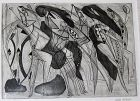 """DOLF RIESER """"DANSE DES GUERRIERS CAFFRES"""" ETCHING AND ENGRAVING"""