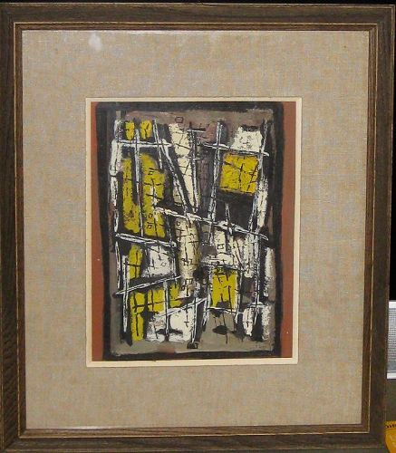 "JEAN SIGNOVERT ""COMPOSITION ABSTRAITE"" ORIGINAL GOUACHE"