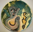 "KIRK MANGUS LARGE 19"" SLIP DECORATED WALL PLATTER"