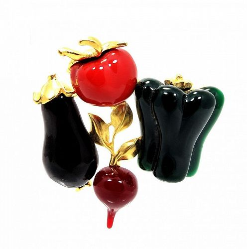 Karl Lagerfeld Matte Gold & Lucite  Mixed Vegetable Brooch