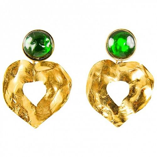 YSL Gripoix Emerald Poured Glass and Gold Drop Heart Earrings