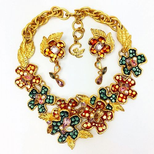 Christian Lacroix Multi Color Enamel Necklace and Earrings