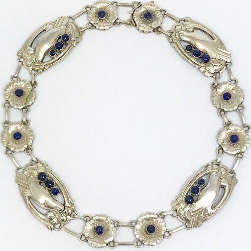 Georg Jensen #26 Silver  and Lapis Lazuli Necklace
