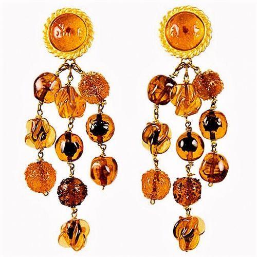 Isabel Canovas Gripoix Amber & Gold Drop Earrings