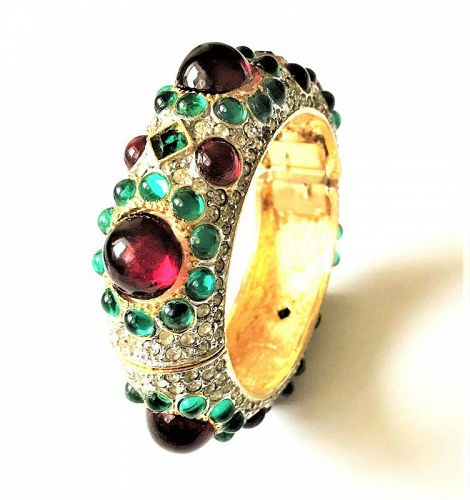 K.J.L. Pave and Cabochon Moghul Hinged Cuff