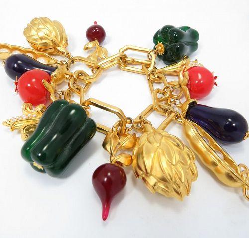 Rare Vintage  Karl Lagerfeld Mixed Vegetable bracelet