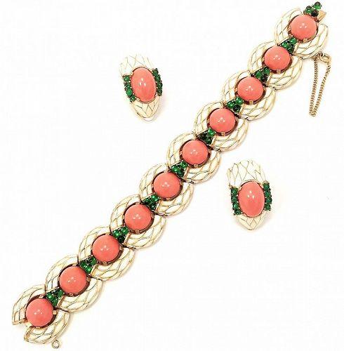 Trifari 1968 L'Orient Bracelet and Earrings