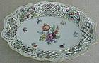 "Chateau Dresden 10 1/2"" pierced  floral rim oval bowl"