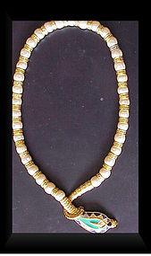 Hattie Carnegie Gold Pearls and Enamel snake necklace
