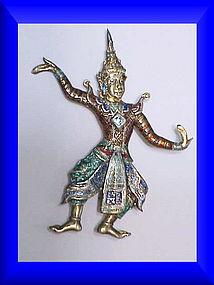 Siam Nielloware sterling Lakorn Chai dancer brooch