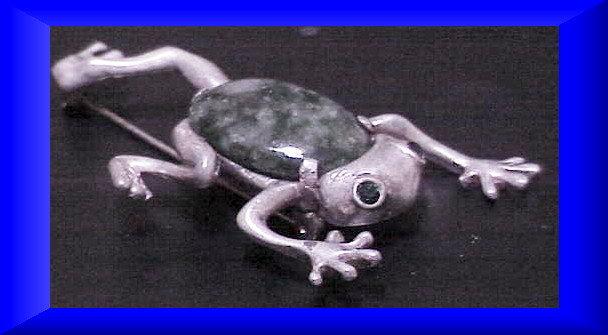 Reja sterling green stone tree frog brooch