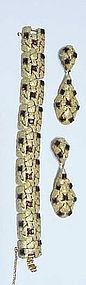 Trifari crown gold tone rhinestone bracelet & earrings