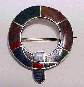 Scottish flush fitting agate panel brooch- Victorian