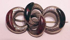 Scottish sterling jasper & bloodstone  lover's knot