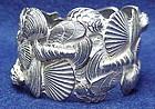 DeNicola silver tone Sea Shell Clamper Bracelet