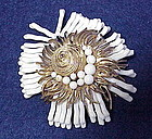 Cadoro sea shell,pearl and white coral brooch / pin