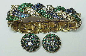 Ciner braided sapphire, emerald & clear bracelet & ears