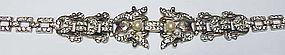 Trifari 'Empress Eugenie' pave & pearl floral bracelet