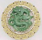 Hattie Carnegie Oriental jade Green Dragon Pendant/pin
