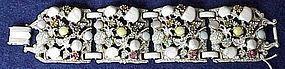 Selro white wash bracelet,  rhinestones, carved stones