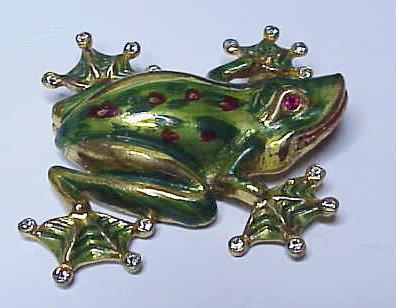 Corocraft sterling gold & enamel tree frog brooch