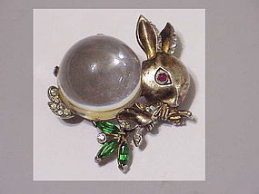 Trifari sterling 'Alfred Philippe' jelly belly rabbit .