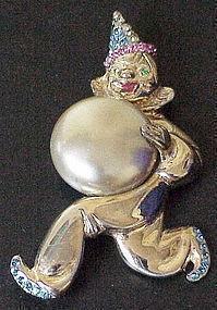 MARSLIEU sterling clown faux pearl ball & rhinestones