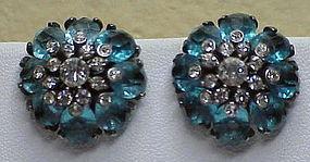 Pennino sterling  blue & clear rhinestone earrings