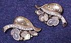 Trifari floral leaf moonstone fruit salad earrings