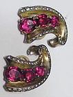 Trifari sterling A. Philippe triple ruby swirl earrings